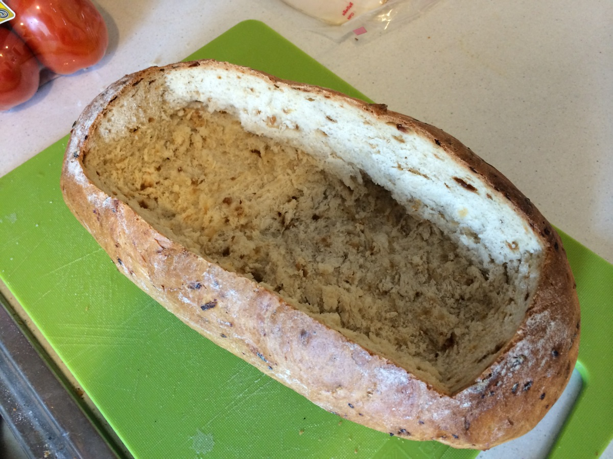 I cut the 'lid' off the bread but screwed up – I broke it apart, which I shouldn't have done.