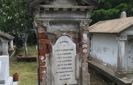 This Dane died in Bangkok at only 27. The monument was erected by the government, so he must have had some importance to Thailand.