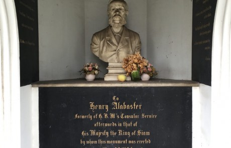 Ornate monument to Henry Alabaster, who advised King Rama V on map making and diplomacy.