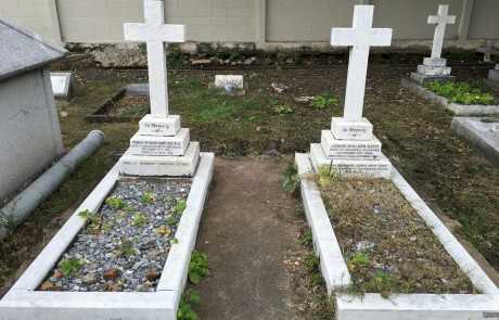 The graves of Thomas and Jennie Hays. The well-known Nielson-Hays Library on Surasak Road was built by Thomas in the memory of his wife, who died in 1920. Strangely, the spelling of Nielson on the grave is different from the spelling that the library uses - Neilson.