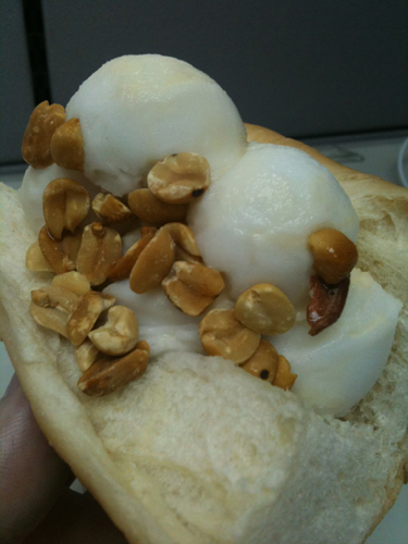 Fruit and rice are stuffed underneath the coconut-flavored ice cream. Oscar Meyer is pissed.